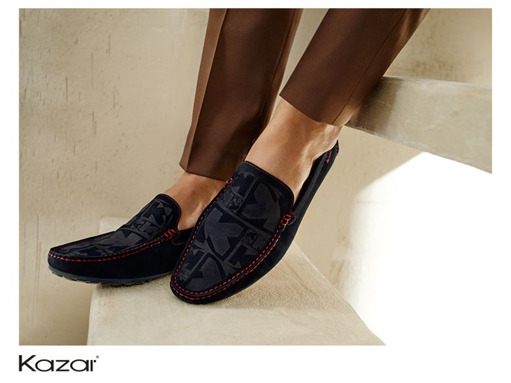 Men's navy blue moccasins made from high quality nubuck, distinguished by an intriguing design.