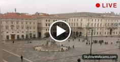 Wonderful view of the square and the Fountain of the Four Continents in Trieste - Italy