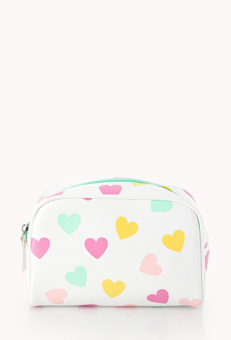 Crazy Hearts Midsize Cosmetic Bag | FOREVER21 All over heart print #F21Crush #F21Cosmetics #ValentinesDay