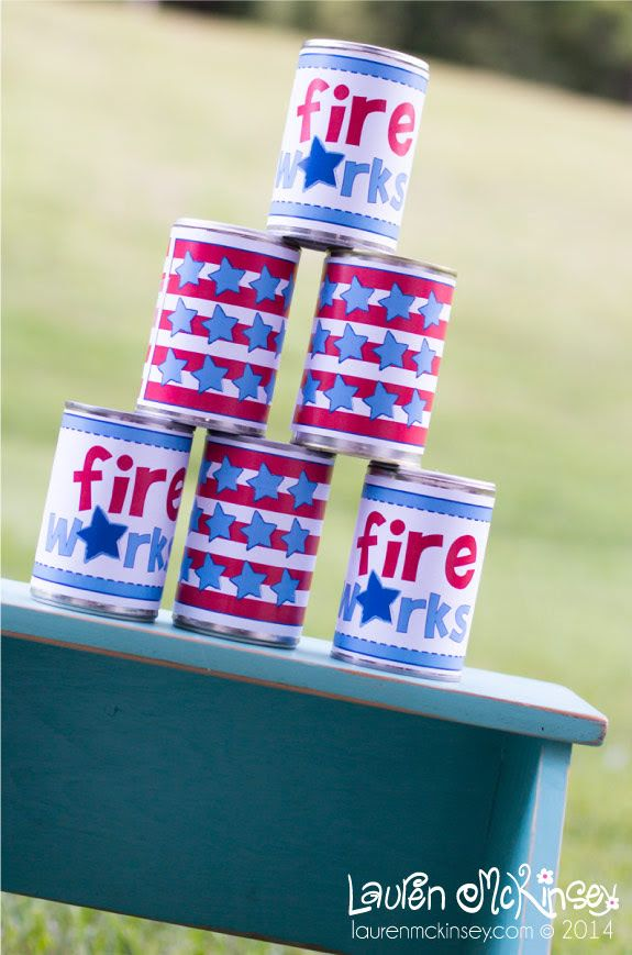 Tin Can Toss Game for Kids - Free Printables for a Fourth of July picnic or family reunion.