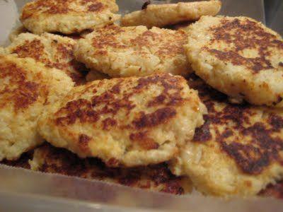 Cauliflower Pancakes ~ 1 medium - large head of cauliflower, 3 large eggs, ½ cup bread crumbs, salt & pepper to taste, 3 TBsp olive oil