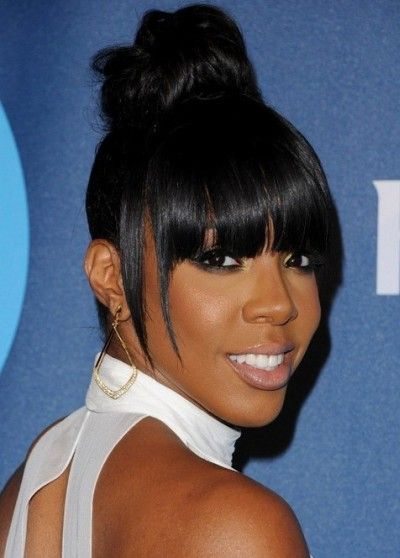Kelly Rowland High Bun Blunt Hair With Bangs Medium Hair