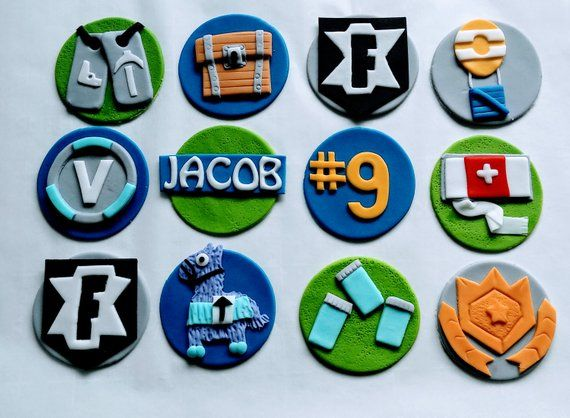 FORTNITE Birthday Cupcake Toppers Edible Fondant 12 Party
