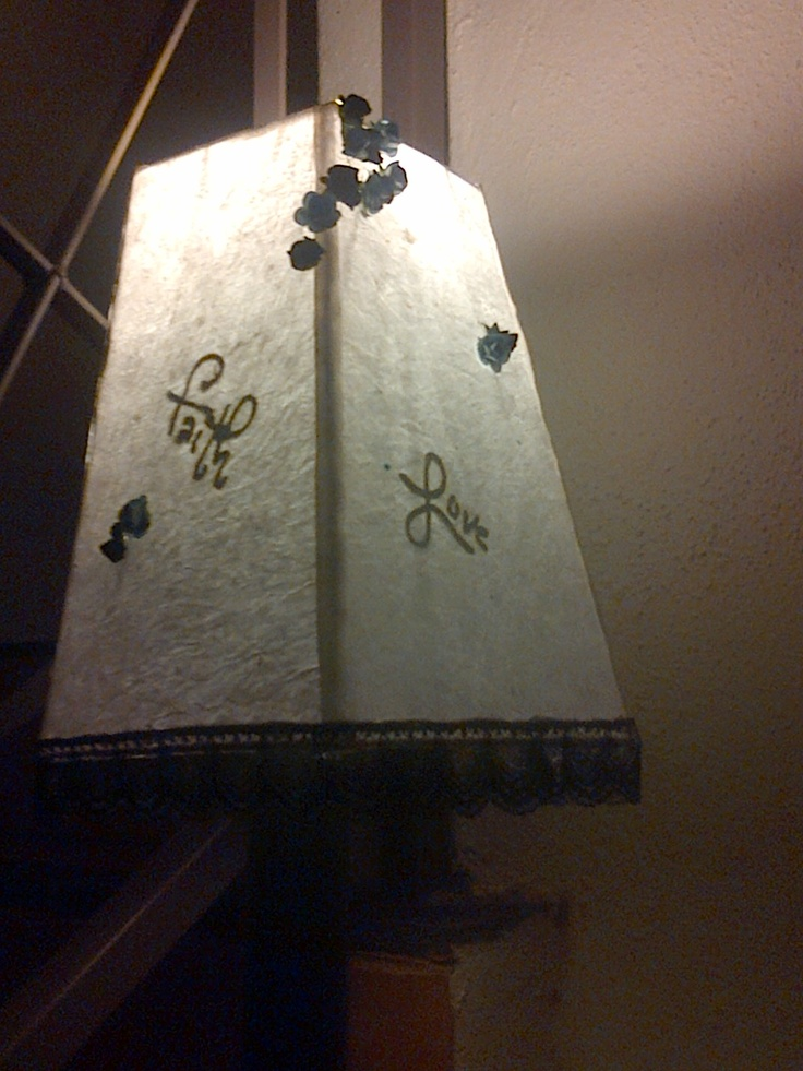 Lampshade, words dhine through when light is on!