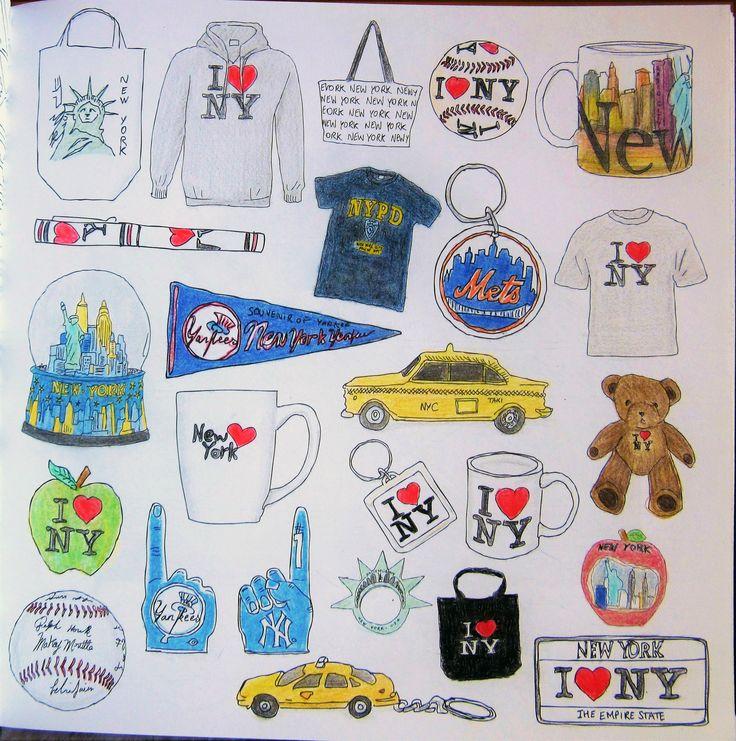 Zoe De Las Cases Secret New York Colouring Book, Souvenirs by Michelle