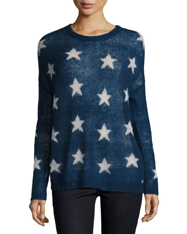 Star Long-Sleeve Sweater, Navy/Ivory - Banjo and Matilda