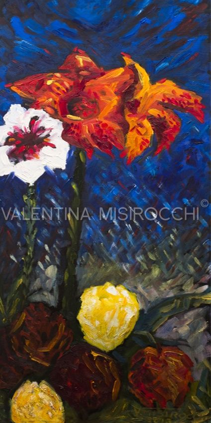 """""""Il fiore rosso"""" dipinto 40 x 100, Olio su tela della Pittrice Romana Valentina Misirocchi"""
