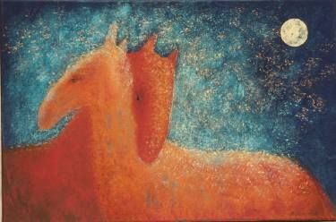 "Saatchi Art Artist Elena Markova; Painting, ""Two Horses (sold)"" #art"