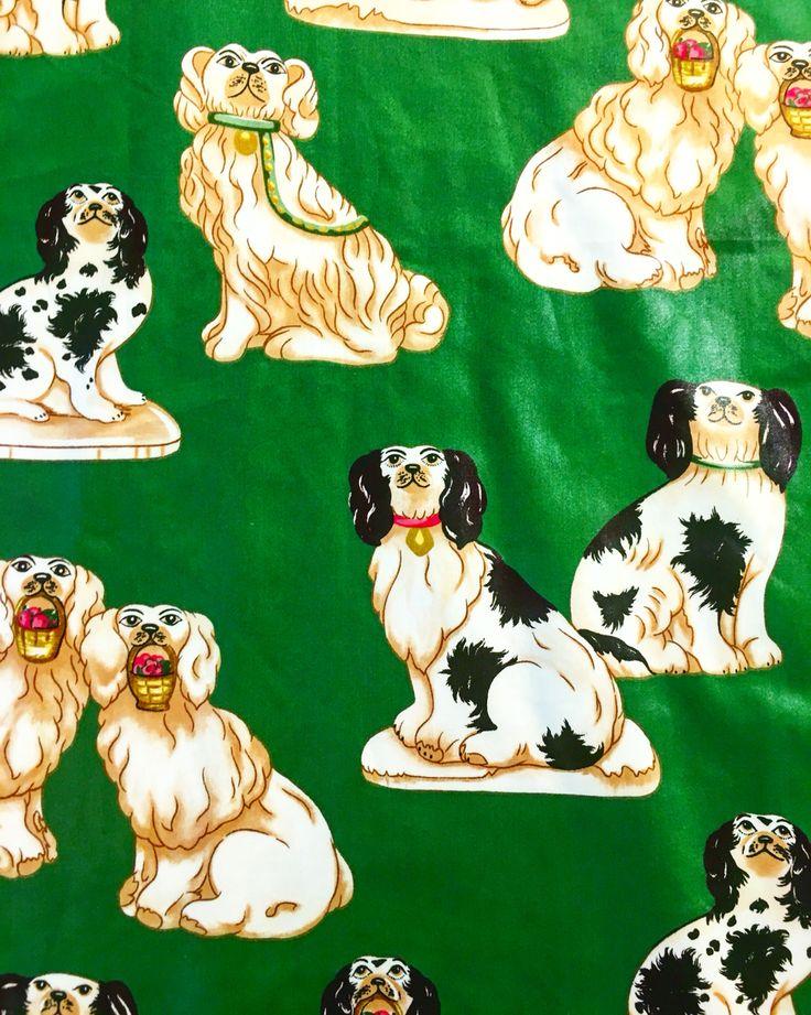 Carlton Varney & Dorothy Drapery fabric Green Staffordshire dogs