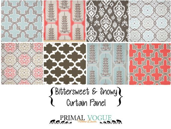 Coral Grey Tan Aqua Curtain Panel with Rod by PrimalVogueHomeDecor