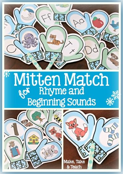 Mitten Match for rhyme, beginning sounds and vocabulary.  Fun winter-themed center activities!