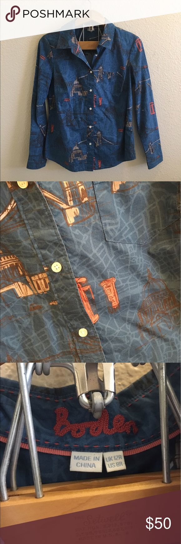 Boden London Landscapes Button Down Top Size 8 R Button Down shirt by Boden. London landscapes print all over. In perfect condition, no flaws! Items stored in a smoke free, pet free environment. I ship daily, excluding Sundays and holidays. Open to offers; bundles discounted! Boden Tops Button Down Shirts