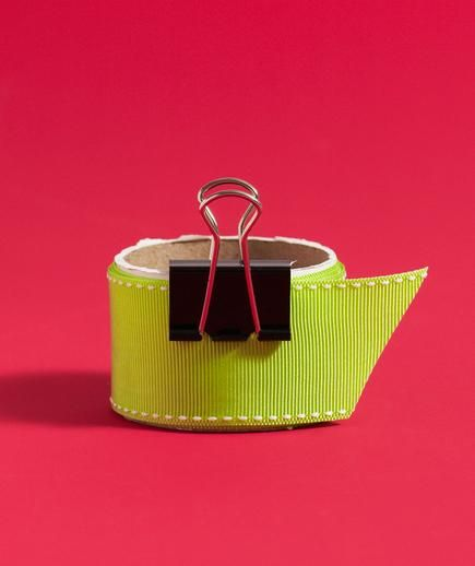 Binder Clip as Ribbon Organizer   Clip one end of the spool to keep the ribbon from unfurling in your giftwrap drawer.