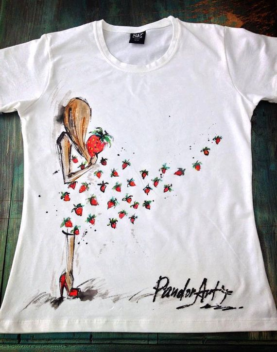 Girl Strawberry Dress Tshirt. Pretty girl with by palettePandora
