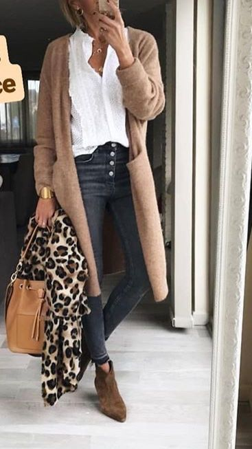 Hose lange Strickjacke Leopard Schal #fashion #outfit #ideas #outfitideas #mode