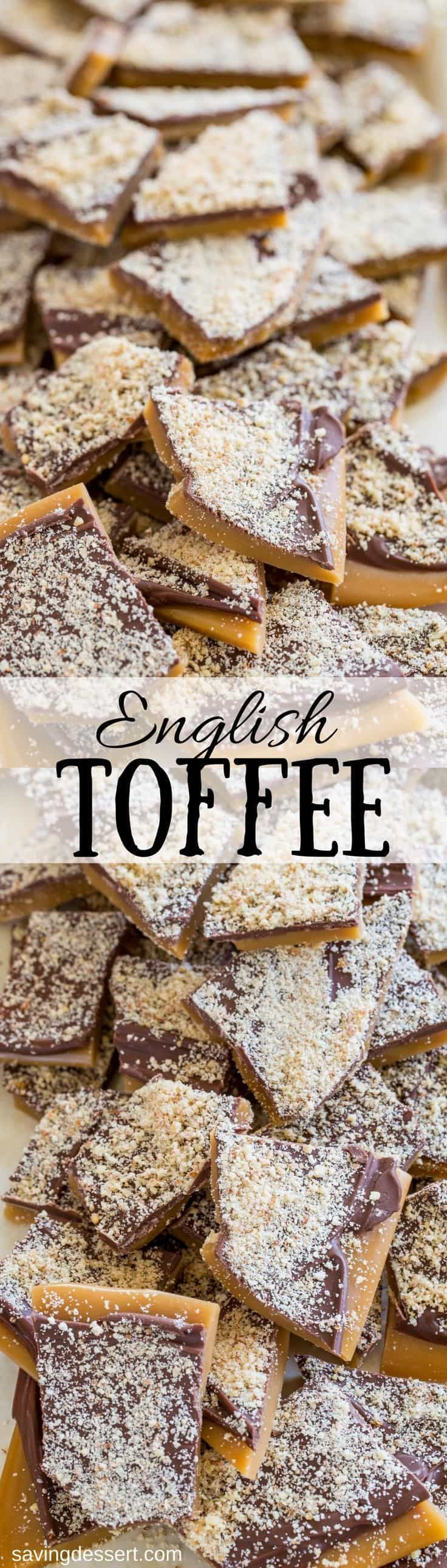 Easy to make and perfect for gifting, Old Fashioned English Toffee dusted with grated almonds - a family favorite for generations! www.savingdessert.com #savingroomfordessert #toffee #christmas #candy #englishtoffee