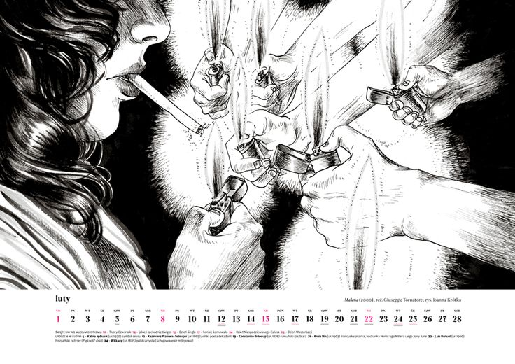 February 2015, erotic art by Joanna Krotka, inspiration: Malena (2000) by Giuseppe Tornatore.Order Museum of Eroticism Erotic Scenes Calendar only till January 16 (price: $20 + shipping from Poland) muzeumerotyzmu@gmail.com http://ero2015.tumblr.com/ Inside: erotic art, erotic feasts, anniversaries, personalities #ero2015 #eroticart #eroticism #erotic #calendar #erotyzm #erotyka #bw #drawing #art #kalendarz #calendario #film #movie #smoking #bellucci Monica Bellucci #italy #sicilia #sicily
