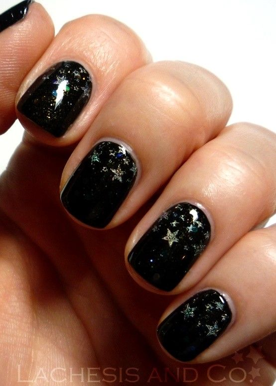 Night Stars Nail Art.....i just love the stars, I'm not a huge fan of black!