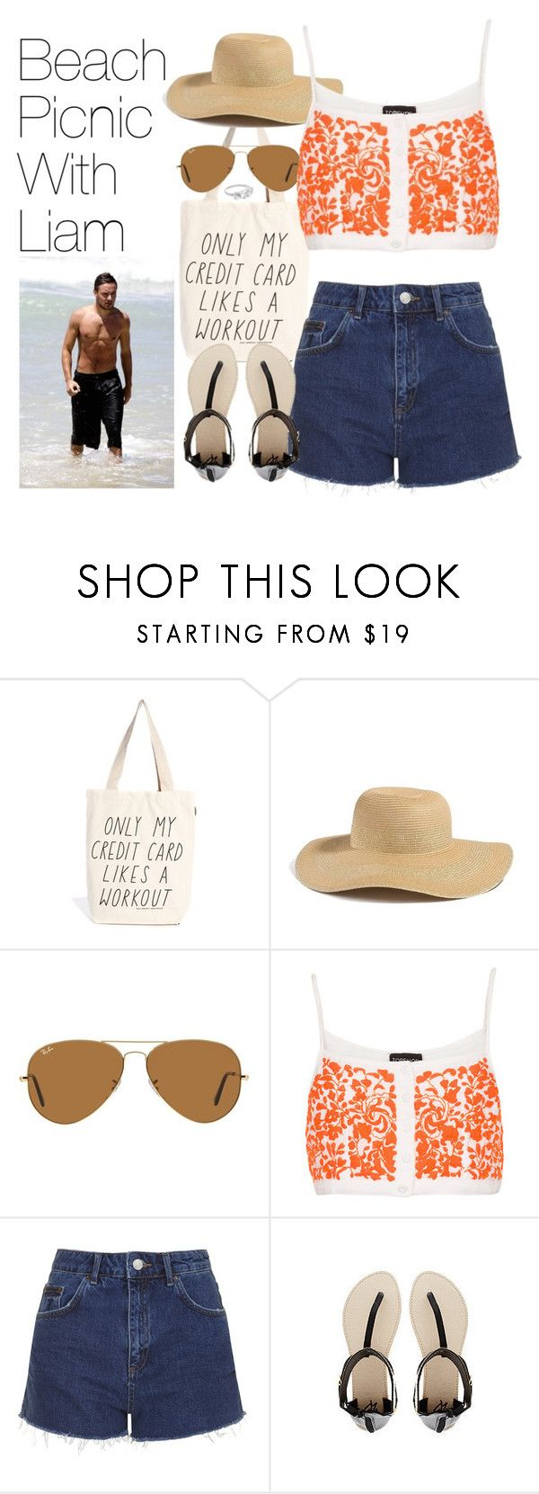 """""""Beach Picnic with Liam"""" by onedirectionimagineoutfits99 ❤ liked on Polyvore featuring Talented Totes, GUESS, Ray-Ban, Topshop, 2b bebe and Payne"""