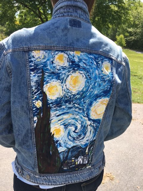 7a2a027c59 Van Gogh s Starry Night painted in acrylic on a denim jacket. I ve been  wanting to try this for a while and I m so happy with the result