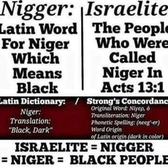 Israelite = Nigger = Niger = Black People