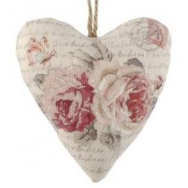 Stoffen hart hanger met rozen Clayre & Eef
