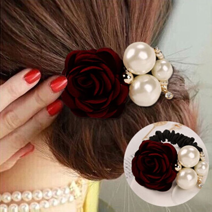 1 PC இ Women Lady Satin Ribbon Big Rose Flower Pearls Hairband Floral ► Decor Elastic Ponytail Holder Hair Band Accessories (0_*) 1 PC Women Lady Satin Ribbon Big Rose Flower Pearls Hairband Floral Decor Elastic Ponytail Holder Hair Band Accessories (0_^)