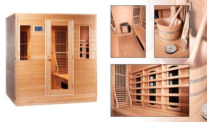 Infrarood cabine 6-persoons, eventueel ook leverbaar als combinatie sauna, Traditionele en Finse sauna in één.