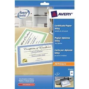 Cheap office supplies stationery online. Avery (A4) Certificate Paper with Border (White/Blue) - Pack of 10 Sheets dudleysonline.co.uk #stationery #cheap #online