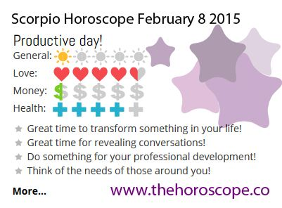 Productive day for #Scorpio on Feb 8th #horoscope ... http://www.thehoroscope.co/horoscope/Scorpio-Horoscope-today-February-8-2015-2170.html