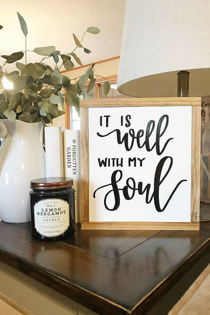 It Is Well With My Soul Rustic Home Decor Farmhouse Style Sign Framed Wood Fixer Upper Wall Scripture W