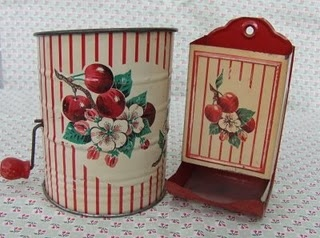 vintage Cherry and Stripe flour sifter and match holderVintage Kitchens, Kitchens Collection, Kitchens Ware, Flour Sifter, Vintage Red, Vintage Cherries, Matching Boxes, Tins Kitchens, Matching Holders