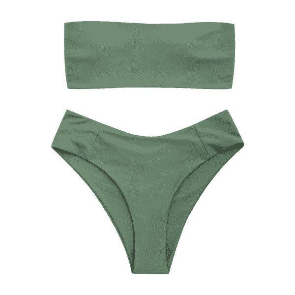 Bandeau High Cut Plus Size Bikini ($16) ❤ liked on Polyvore featuring swimwear, bikinis, plus size swimwear, plus size beachwear, plus size beach wear, bikini two piece and bandeau swimwear