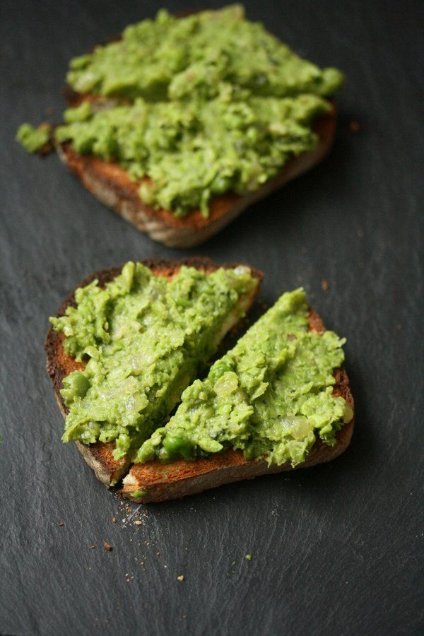 mushy peas on toast - i made mine super simple and just mashed the peas in the can with some rosemary and black pepper
