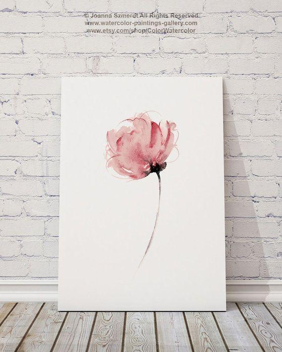 Arte abstracto acuarela flor imprimir rosa por ColorWatercolor