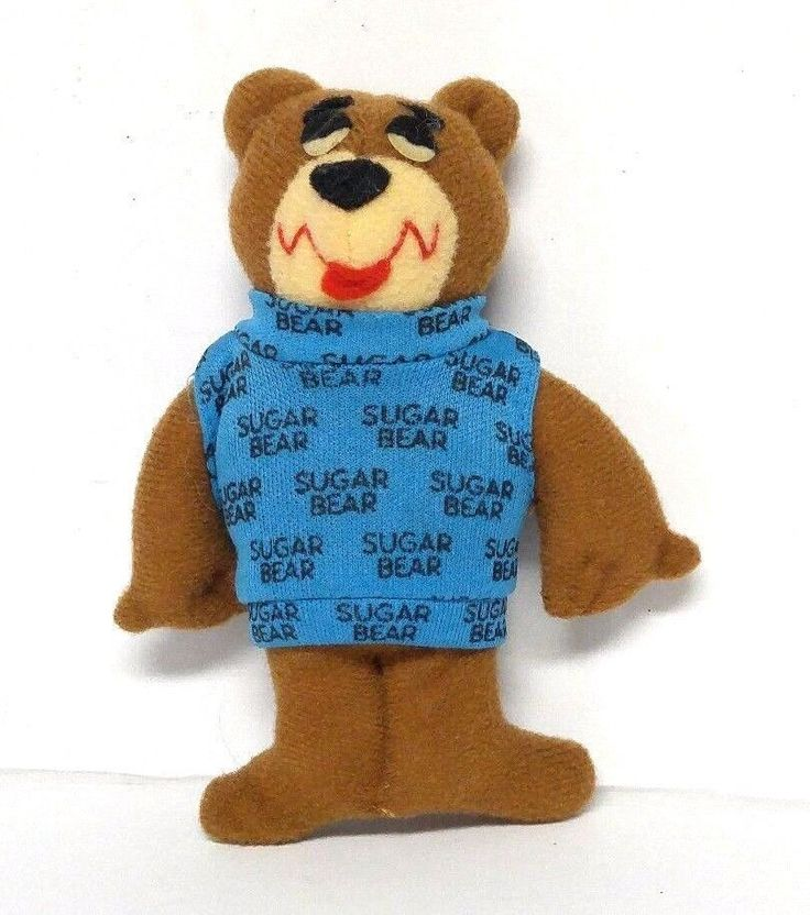 "Vintage Golden Crisps Cereal Sugar Bear 4"" Plush Stuffed Animal Toy Smacks '80's #SugarCrisps"