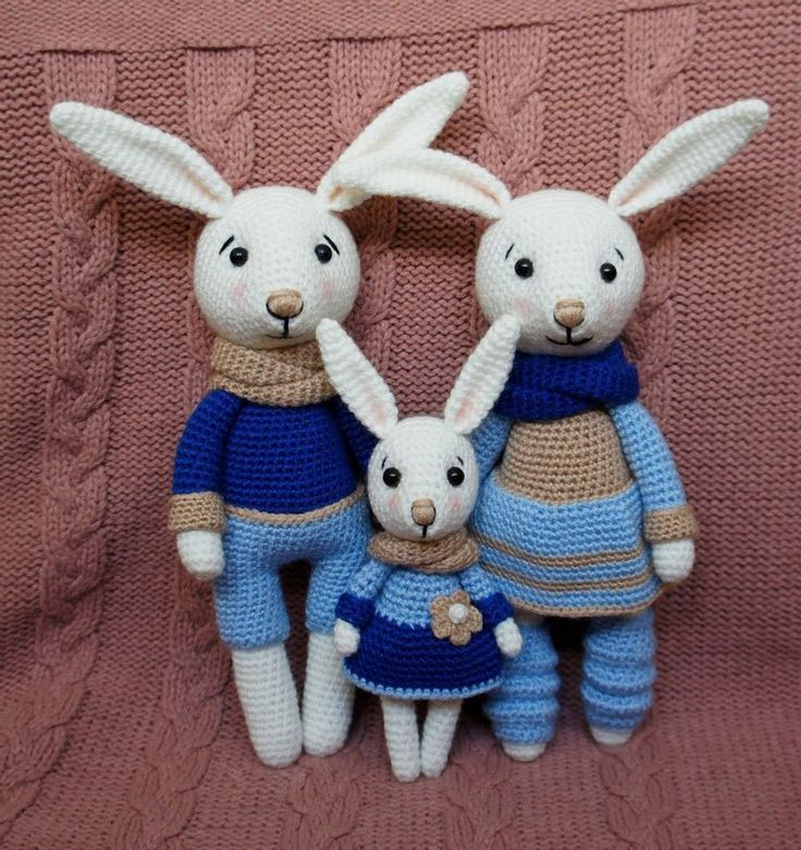 Conejito juguetes de ganchillo familias - los patrones libres