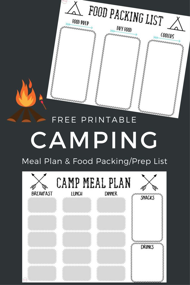 Free printables! Camping meal plan and camping food list / menu plan for packing and prepping camp food ideas!  via @musthavemom