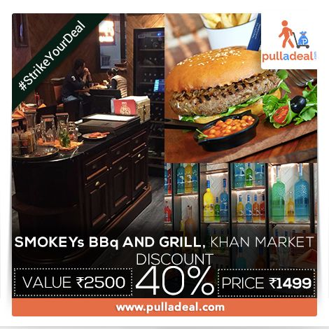 #StrikeYourDeal Foodies can eat the best of #Barbeques and slurp on delicious #Drinks at #SmokeysBBqAndGrill, #KhanMarket. Go with amazing deal and save Rs 1001/- on the deal of Rs 2500/- http://goo.gl/l1okvI
