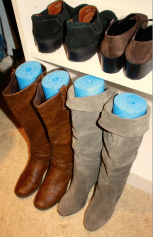 Cut a pool noodle to help your boots stand upright. Brilliant! And they only cost a couple of dollars. #shoe #storage #Tree #alternative #organized #organization #storage #cabinet