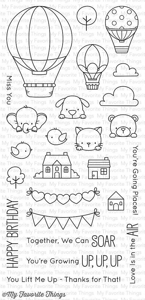 """MFT STAMPS: Up In The Air (4"""" x 8.5"""" Clear Photopolymer Stamp Set) This package includes Up In The Air, a 25 piece set including: - Large balloon 1 13/16"""" x 2 ½"""" - Small balloons (2) 7/8"""" x 1 ¼"""" - Ele"""