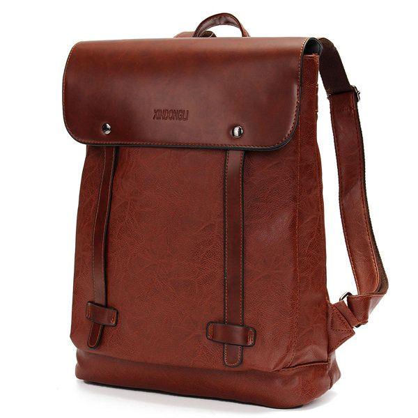 Women Men Vintage Satchel Backpack PU Leather Laptop bags Rucksack School Bag…