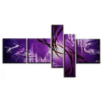 Cuadro abstracto multicomponente en tono violeta