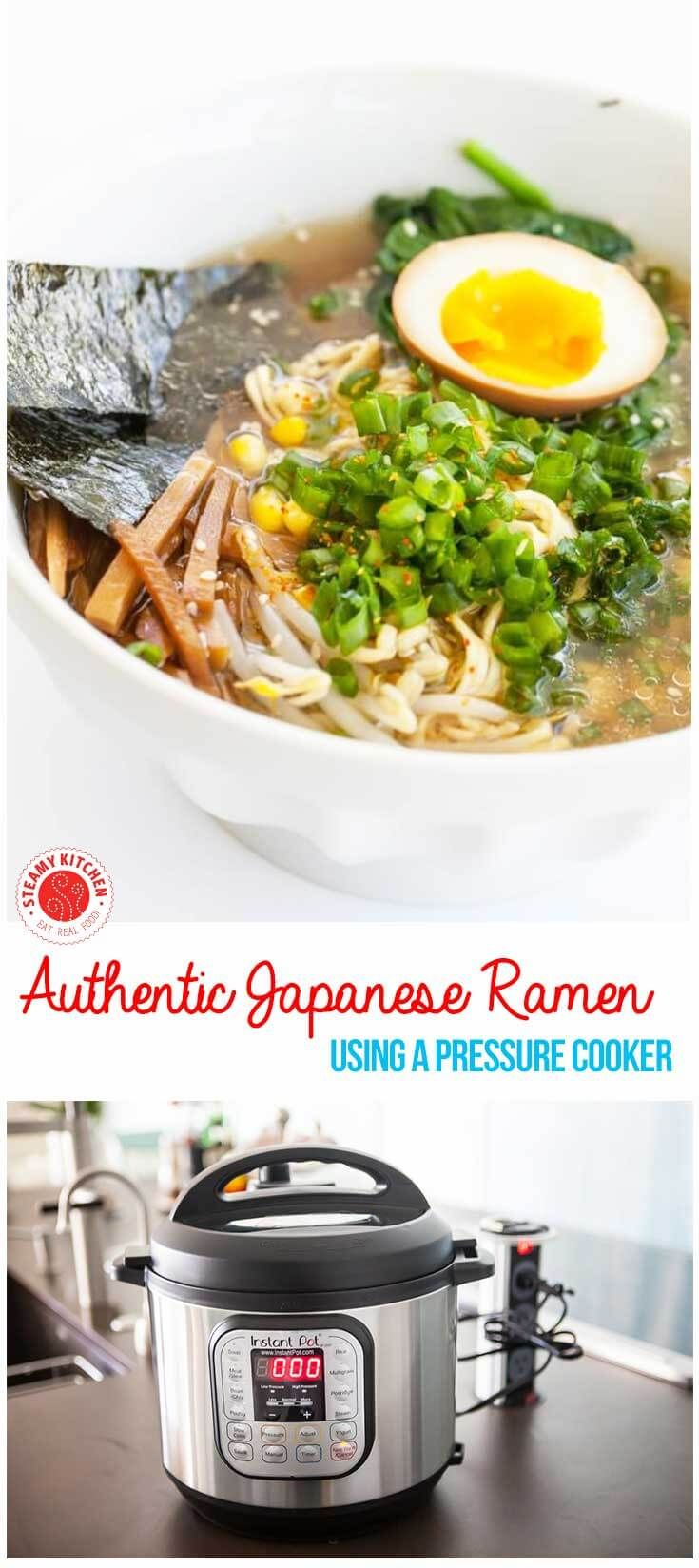 Make authentic Japanese ramen broth with a pressure cooker. Simple, step by step recipe. ~ http://steamykitchen.com