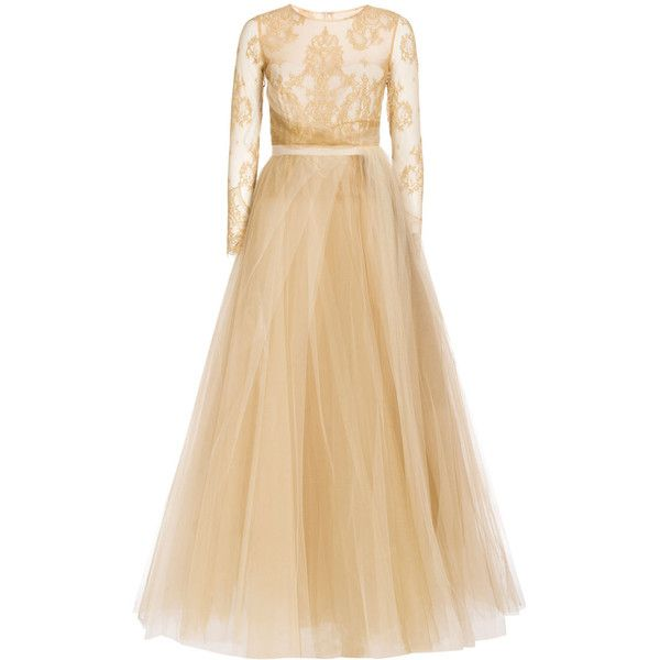 Notte By Marchesa Gold Lace Gown (5.645 BRL) ❤ liked on Polyvore featuring dresses, gowns, metallic, gold evening dresses, gold dress, sheer lace gown, lace ball gown and beige lace dress