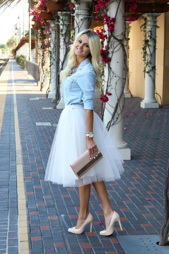 Tulle Skirt Denim Shirt Fashion Blogger