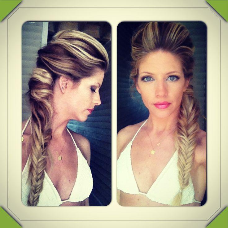 Womens Hairstyle Braids Braided Undo Fishtail Braid French Long Hair Brown And Blonde Bohemian Wedding