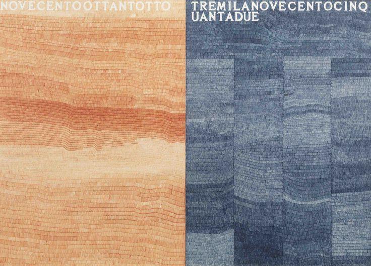 Alighiero Boetti, La metà e il doppio (novecentoottanto-tremilanovecentocinquantadue),1976, stylo-bille rouge et noir sur papier, 2 pièces, cm 102 x 142, in 40.2 x 55.9