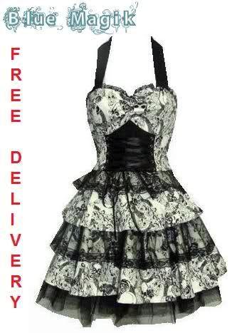 <3 THIS DRESS!!! White Black Skulls Roses Lace Tattoo Rockabilly Goth Emo Punk Mini