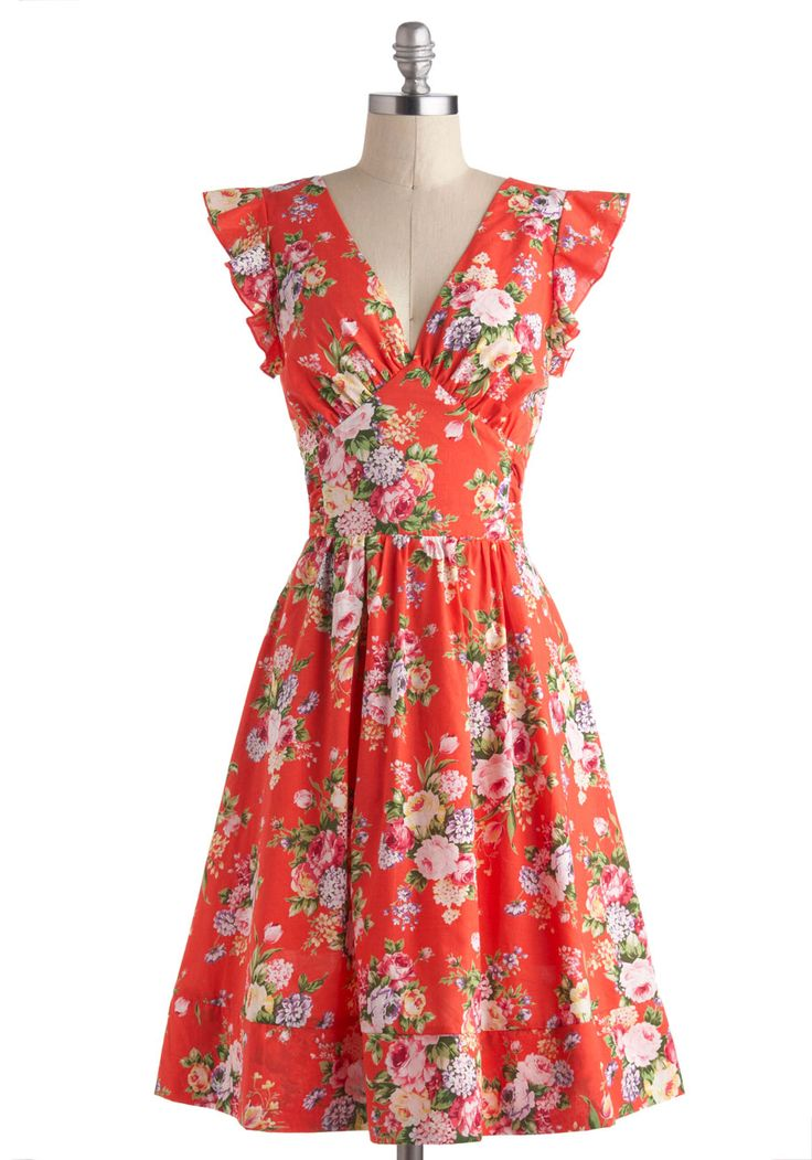 Bundle of Beauty Dress from Modcloth-- god, I love the feminine cut and pattern so much. Plus Sizes Available.